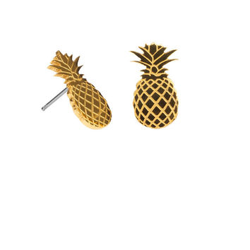 Gold Plated Lady Muck Pineapple Studs