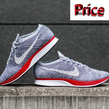 sneaker unisex Nike Flyknit Racer Comes In A Clean Wolf Grey And Red Colorway Unisex sneaker