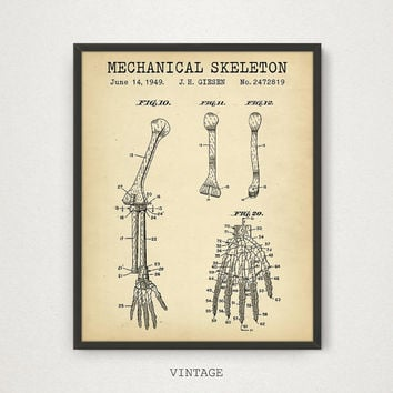 Anatomy Poster Printable, Human Hand Medical Art, Mechanical Skeleton Patent Art, Medical Gallery Wall, Graduation Gift, Hospital Decor