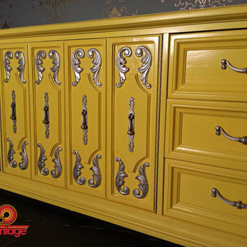 Vintage Refurbished Marigold Yellow & Silver Hollywood Regency Lacquered Dresser