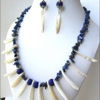 White Shell Dagger Lapis Lazuli Blue Bead Necklace and Earring Set
