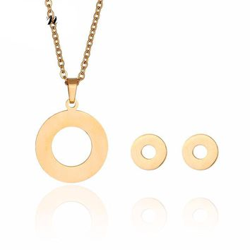Stainless Steel Gold Hollow Round Coin Long Pendant Necklace & Stud Earrings Jewelry Set