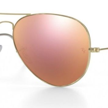 Ray-Ban RB3025 Z2 Rose Gold Aviator Flash Lenses Gold Sunglasses