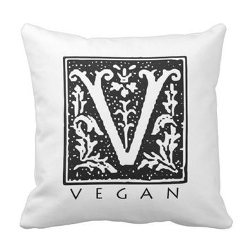Vegan Gothic V Square Black and White Throw Pillow