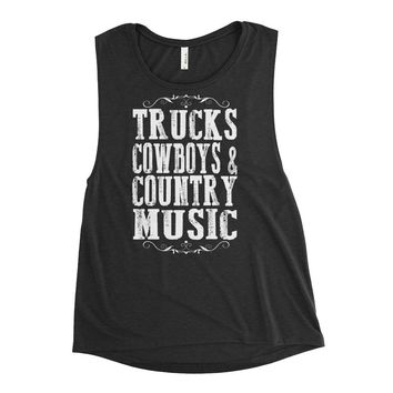 Trucks, Cowboys & Country Music - Women's Flowy Muscle Tank - Various Colors