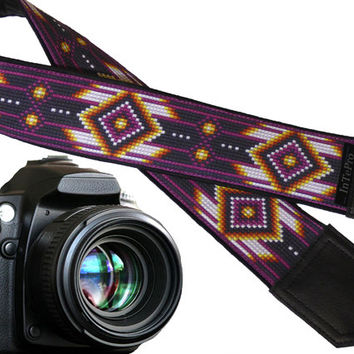 Dark purple camera strap inspired by Native Americans. Ethnic camera strap.  DSLR / SLR Camera Strap. Monogrammed and pocket options.