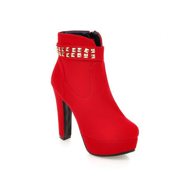 Ankle Boots for Women Platform High Heels Faux Suede Studded Autumn Winter Shoes Woman 5914