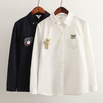 Cartoon Embroidery Pockets Turn-down Collar Long Sleeve Blouse
