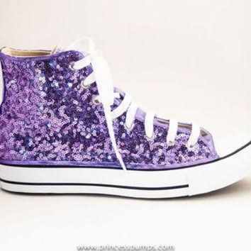 ICIKGQ8 lavender purple sequin converse hand sequined hi top canvas sneaker shoes
