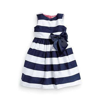 New Baby Kid Girls One Piece Dress Blue White Striped Bow Summer Tutu Dress 1-5Y