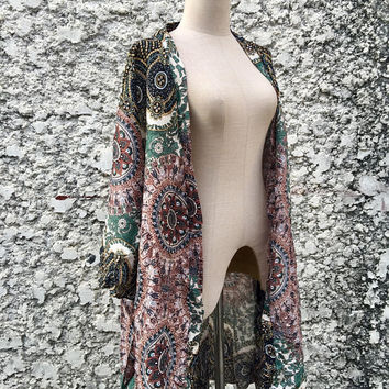 Hippie Kimono jacket Cardigan Tribal Festival Gypsy Bohemian Oversize Boho style Top Beach Cover Up Summer Vegan Gift for Men women Mandala