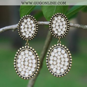 Pink Panache Bronze Mini and Small Oval Dangle Earrings with Candy Ivory Crystals