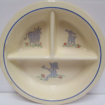 Juvenile Ware Boy Blue Divided Bowl Little Baby Boy Universal Cambridge Feeding Dish