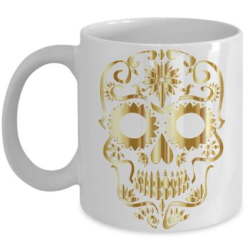 Sugar Skull - Gold - Coffee / Hot Chocolate / Tea Mug - 11 oz Ceramic Cup