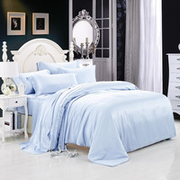 22 momme Light Blue Luxuer 7-Pieces Silk Bedding Collections