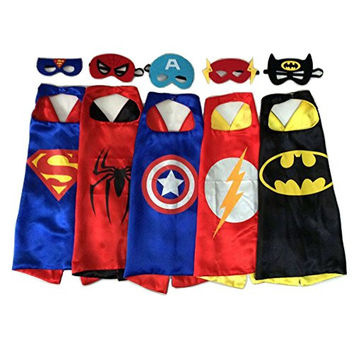 Cute Nemo Superhero Dress Up Costumes - 5 Satin Capes and 5 Felt Masks Kids Childrens Halloween Costume