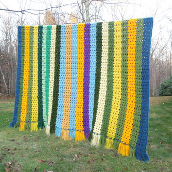 """Colorful vintage crochet afghan throw blanket with blue green yellow purple stripes 53"""" x 43"""""""