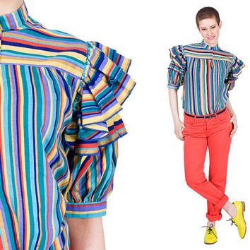 Stripe Blouse 80s Sucre D'Oage Paris Vintage 1980s Multicoloured Frill Sleeves