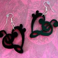 Musical Heart STATEment Earrings, Shiny Black Acrylic. Valentine's Day Jewelry