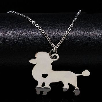 2018 Poodle Dog Stainless Steel Necklace for Women Delicate Pets Poodle Animal Necklaces  Jewelry collier sautoir N72216BKawaii Pokemon go  AT_89_9