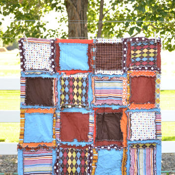 Boy RAG QUILT, Crib Blanket, in Orange, Blue, Brown, Ready to Ship