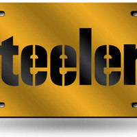 NFL Pittsburgh Steelers Laser Cut License Plate Tag  Yellow