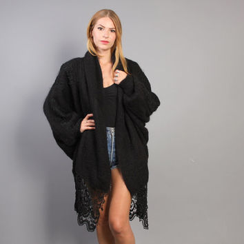 80s Mohair SWEATER COAT / Beaded Lace Trim Shaggy Draped Cardi Jacket