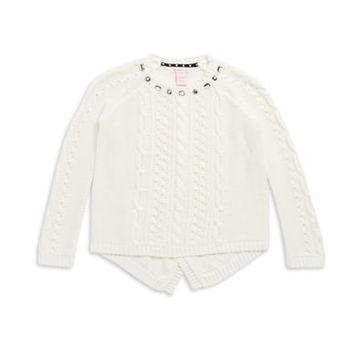 Design History Girls 7-16 Embellished Cable Knit Sweater