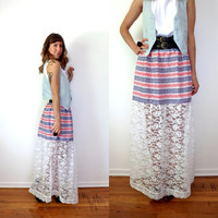 Red White & Blue High Waist Lace Maxi Skirt 4th Of July