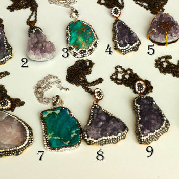 OOAK Natural variscite and amethyst necklace, variscite slice necklace, gold or silver electroplated a perfect gift wedding, christmas