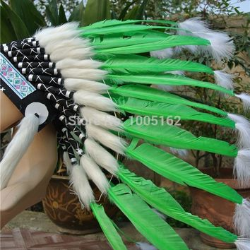 Chief Indian lime green feather Headdress 21inch high Native American headdress indian War Bonnet Hat