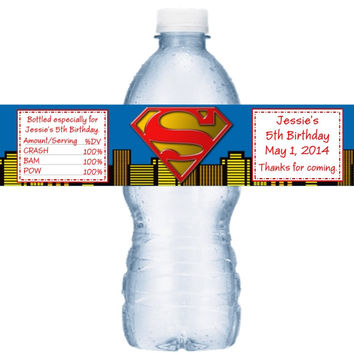 Superman Birthday Water Bottle Label Favors