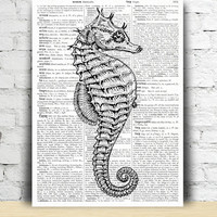 Nautical poster Seahorse print Beach house decor TO135