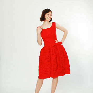 1960s Party Dress - 60s Dress - Lipstick Red