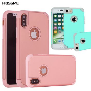 FKISSME Hybrid Shockproof Soft Silicone Case For iPhone 6 6S Plus 5S PC Hard Back Cover For iPhone X 7 8 Plus Armor Phone Cases