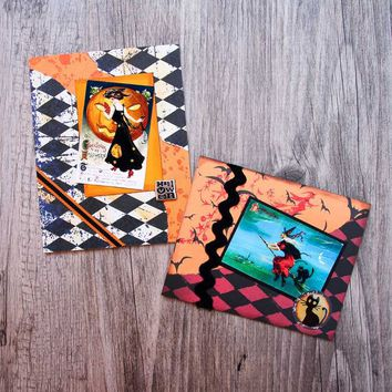 "Two Handmade Halloween Cards with Lady in Black and Witch and Black Cat Riding on a Broom - Set of Two ""Witchy"" Greeting Cards for Halloween"