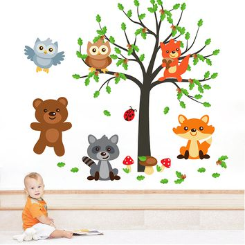 cik1657 Full Color Wall decal bedroom children's room decor Custom Baby Nursery on bed baby tree nusery decal tree forest animals