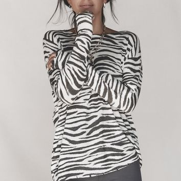 Zulu Distressed Zebra Striped Long Sleeve Top