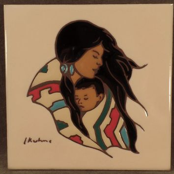 Old  Art Tile - Native American Indian  Mother amd Child - Leone Kuhne Hand Painted Ceramic Tile