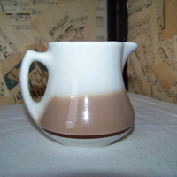 Vintage Wellsville China Creamer--Brown Band Mist WLS16--Retro Restaurant Ware--Kitchenware--Collectible--Syrup Pitcher--My Vintage Home