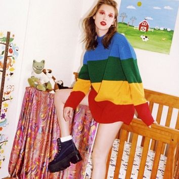 Woman Loose Sweaters Colorful Rainbow knitting Clothes For female Striped Pullovers Of 2018 Autumn Winter