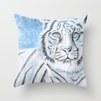 Ethereal White Tiger Throw Pillow by Susaleena