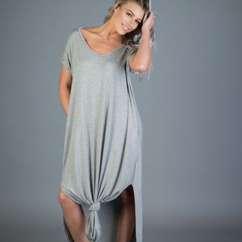 Basic Oversized Maxi Dress in Heather Gray