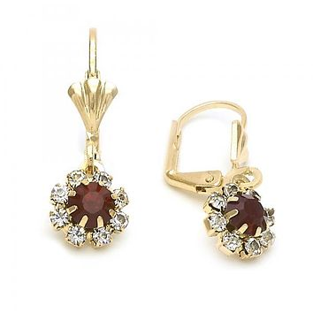 Gold Layered 5.125.019 Dangle Earring, Flower Design, with White and Garnet Cubic Zirconia, Golden Tone