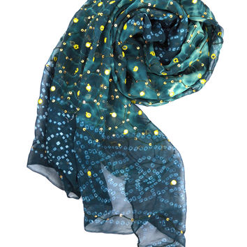 Blue and Green Celestial Silk Shawl