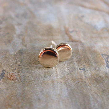 Tiny Pebble Earrings in 14k Yellow or Rose Gold