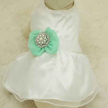 Green Dog Dress,  Pet wedding accessory