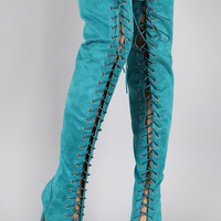 Suede Peep Toe Lace Up Stiletto Over-The-Knee Boots