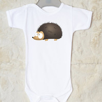 Hedgehog Baby Bodysuit. Gender Neutral Baby Clothes. Personalized Baby Items. Available With or Without Text.