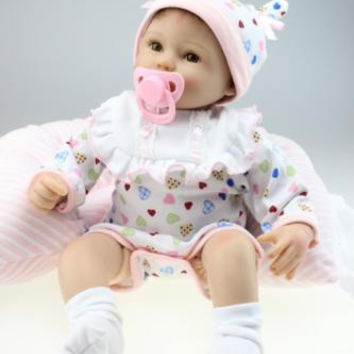 Nicery Reborn Baby Doll Soft Silicone 18in. 45cm Toy White Bib Eyes Open